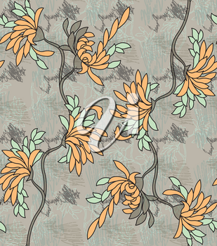 Aster flower yellow on gray with scribble.Seamless pattern.