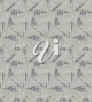Triangles striped with green.Hand drawn with ink seamless background.Creative handmade repainting design for fabric or textile.Geometric pattern with triangles.Vintage retro colors