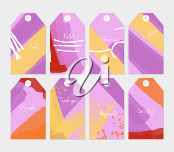 Abstract rough grunge strokes gray purple yellow tag set.Creative universal gift tags.Hand drawn textures.Ethic tribal design.Ready to print sale labels Isolated on layer.