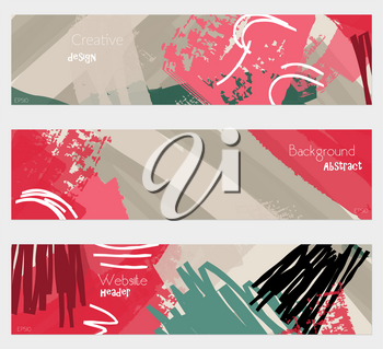 Grudge textured strokes red gray banner set.Hand drawn textures creative abstract design. Website header social media advertisement sale brochure templates. Isolated on layer