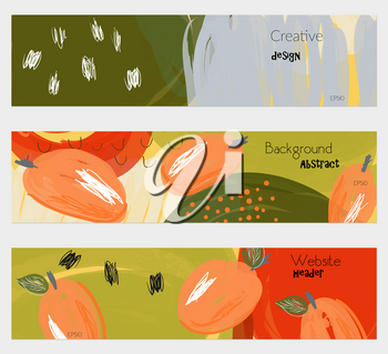 Roughly drawn plums orange banner set.Hand drawn textures creative abstract design. Website header social media advertisement sale brochure templates. Isolated on layer