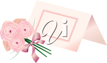 Royalty Free Clipart Image of a Place Card and Bouquet of Roses