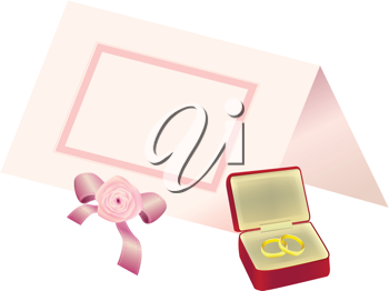 Royalty Free Clipart Image of a Place Card and Rings