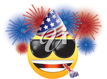 Royalty Free Clipart Image of a Celebrating American Happy Face With Fireworks