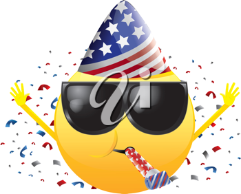 Royalty Free Clipart Image of a Celebrating Happy Face
