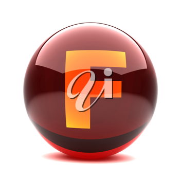 Royalty Free Clipart Image of a Sphere Letter 'F'