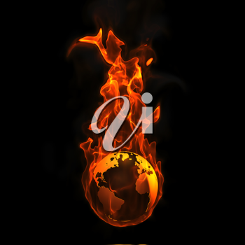 Royalty Free Clipart Image of the Earth on Fire