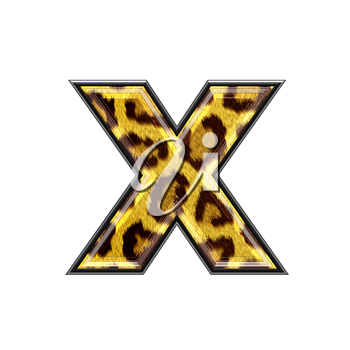3d letter with panther skin texture - X