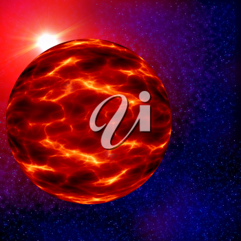 Royalty Free Clipart Image of an Alien Planet