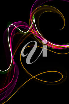 abstract ribbon waves on a black