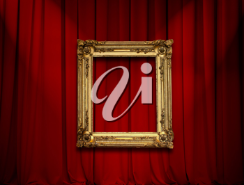 Royalty Free Photo of Red Curtains and a Frame