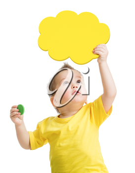 Kid playing blank yellow cloud looking up