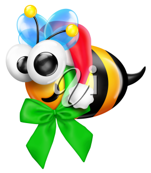 Royalty Free Clipart Image of a Bumblebee Dressed in a Green Bow and Santa Hat