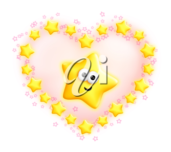 Royalty Free Clipart Image of a Star in a Star Frame Shaped Like a Heart