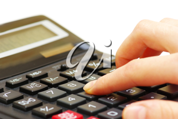 Royalty Free Photo of a Person Using a Calculator