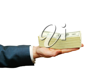 Royalty Free Photo of a Businessman Holding Money
