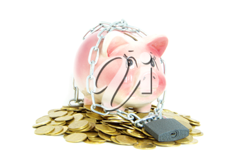 Royalty Free Photo of a Piggy Bank with a Lock