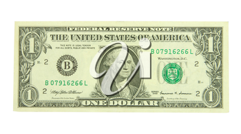 one dollar isolated on a white background