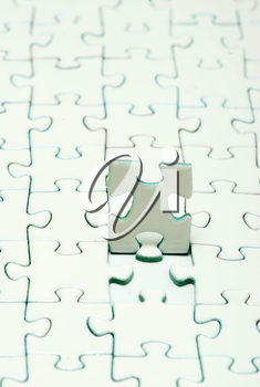 White puzzles for background. business concept