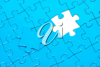 blue puzzles for background. business concept
