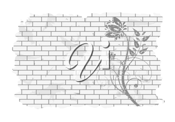 Royalty Free Clipart Image of a Floral Pattern on a Brick Wall