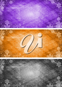 Royalty Free Clipart Image of a Set of Snowflake Banners