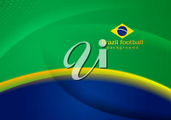 Waves vector football background in Brazilian colors