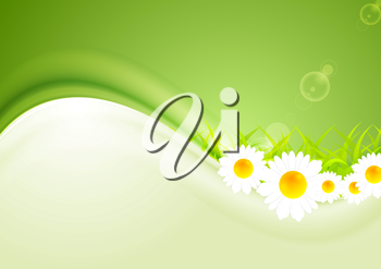 Modern bright summer background. Vector camomiles and shiny waves for design