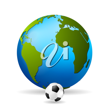 Concept soccer vector background with earth globe