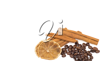 Royalty Free Photo of Coffee Beans and Cinnamon Sticks