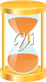Royalty Free Clipart Image of a Gold Hourglass