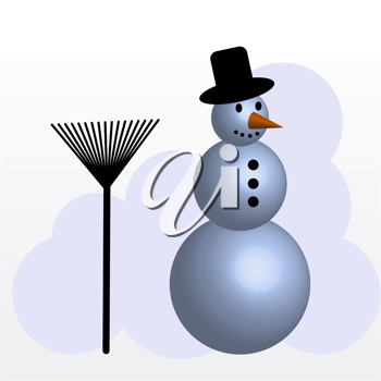 Royalty Free Clipart Image of a Snowman With a Rake