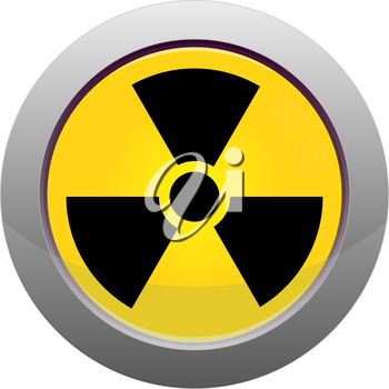 Button with radiation sign