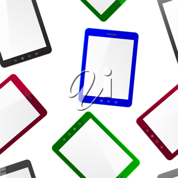Royalty Free Clipart Image of a Bunch of Tablets