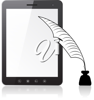 Royalty Free Clipart Image of a Tablet and Pen