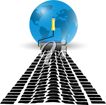 Royalty Free Clipart Image of a Paint Roller by a Globe