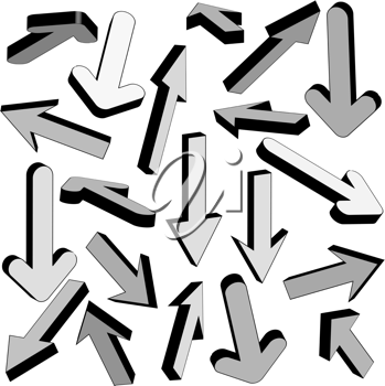 Royalty Free Clipart Image of Grey Arrows