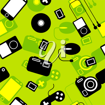 Royalty Free Clipart Image of a Background of Electronics