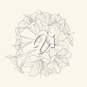 Royalty Free Clipart Image of a Bouquet of Lilies