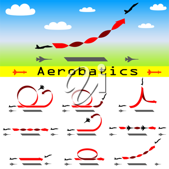 Royalty Free Clipart Image of Airplane Aerobatics