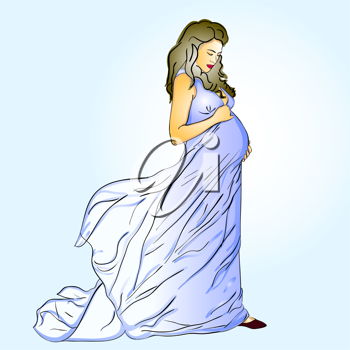 Royalty Free Clipart Image of a Pregnant Woman