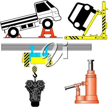 Royalty Free Clipart Image of Vehicles on Jacks