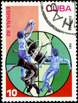 CUBA - CIRCA 1981: A stamp printed in the CUBA, image is devoted World championship on football, Spain 82, circa 1981