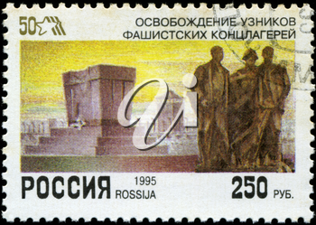 RUSSIA - CIRCA 1995: A stamp printed by the Russia Post is entitled liberation prisoners of fascist concentration camps, circa 1995