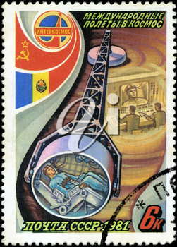 USSR - CIRCA 1981: A stamp printed in the USSR, shows international flights in space, circa 1981