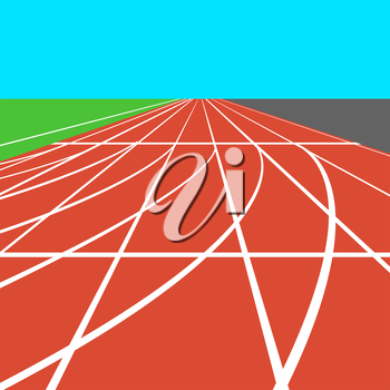 Red treadmill at the stadium with white lines.  vector illustration.