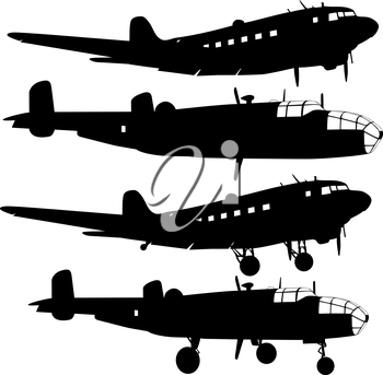 Collection of different combat aircraft silhouettes.  vector illustration for designers