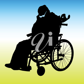 One handicapped man in wheelchair silhouette. Vector illustration.