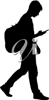 Black silhouettes man with backpack on a back. Vector illustration.