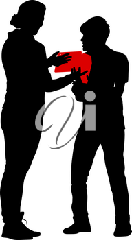 Black silhouettes man and woman with arm raised on a white background.